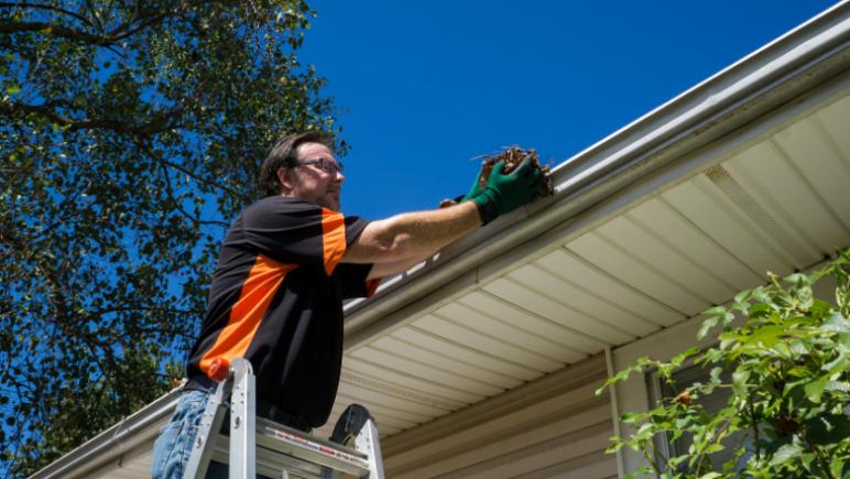 Outdoor rental property maintenance - clean gutters